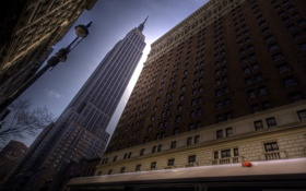 Обои город, небоскреб, США, мегаполис, New York City, the Empire State building from 34th street and ...