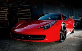 Обои склад, передок, полетты, италия, ferrari, 458 italia, red
