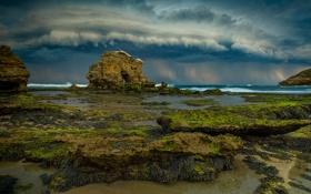 Обои море, гроза, волны, облака, камень, бассейн, слизь