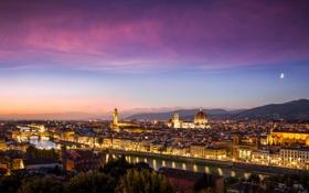 Картинка огни, дома, вечер, Италия, панорама, Флоренция