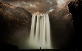 Обои облака, река, человек, водопад, Исландия, Скоугафосс, Скоугау