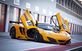 Обои оранжевый, McLaren, Макларен, болид, MP4-12C, боксы, orange