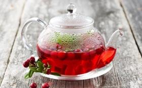 Картинка чай, чайник, напиток, брусника