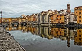 Обои небо, мост, река, дома, Италия, Флоренция, Понте Веккьо