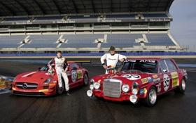 Обои Mercedes-Benz, AMG, SLS, пилоты, and, старый и новый, Race Car