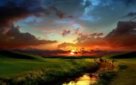 Картинка солнце, облака, река