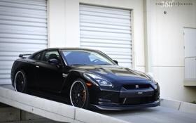 Картинка чёрный, Nissan, GT-R, black, ниссан, передняя часть, 360 three sixty forged