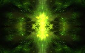 Картинка лес, свет, абстракция, зеленый, солнечные лучи