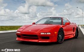 Обои red, красная, передняя часть, акура, Acura, NSX, sf system forged