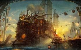 Обои морда, люди, корабль, здания, арт, порт, погрузка