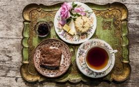 Обои цветок, чай, роза, шоколад, печенье, тарелка, напиток