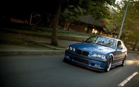 Обои дорога, бмв, BMW, синяя, blue, tuning, E36
