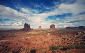 Картинка дорога, небо, пейзаж, природа, пустыня, Каньон, desert