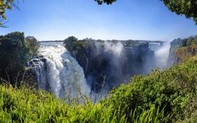 Картинка зелень, скалы, Водопад, Африка, Victoria Falls, Zimbabwe, бурный поток