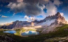 Обои природа, горы, озера, долина