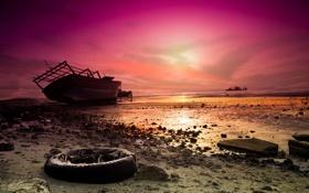 Обои закат, мель, пейзаж, корабль, море