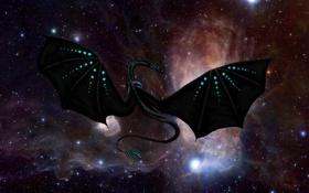 Картинка космос, звезды, полет, фантастика, дракон, крылья, млечный путь