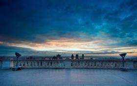Обои небо, облака, город, вид, панорама, обзор