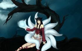 Картинка взгляд, девушка, ночь, дерево, магия, полнолуние, art