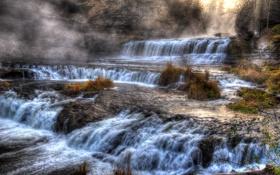 Обои каскад, камни, осень, скалы, лес, бурный поток, водопад