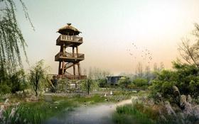 Обои зелень, трава, вода, пейзаж, птицы, природа, конструкция