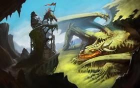 Обои скалы, дракон, арт, всадник, лежа, зароли