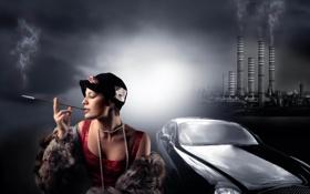 Картинка девушка, трубы, ретро, сигарета, бусы, шуба, мундштук