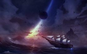 Картинка море, волны, небо, корабль, планета, парусник, арт