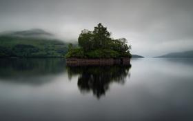 Картинка остров, гладь, озеро, туман