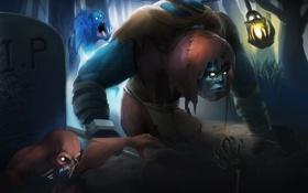 Обои могилы, мертвецы, League of Legends, Gravedigger, Yorick