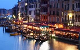 Картинка Italy, Венеция, night, канал, гондола, lights, город