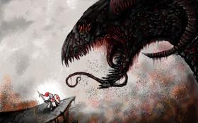 Обои fight, dragon, knight, epic