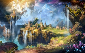 Обои green, nature, planets, waterfalls, plants, fabric, tribes