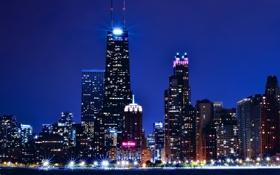 Обои ночь, огни, небоскребы, Чикаго, USA, США, Америка