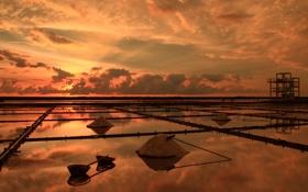Картинка море, небо, золото