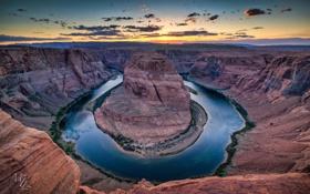 Обои пейзаж, река, Horseshoe Bend in Paige, каньон, высота, Arizona