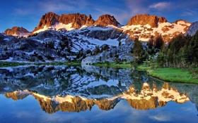 Обои лес, Пейзаж, природа, горы, отражение, озеро