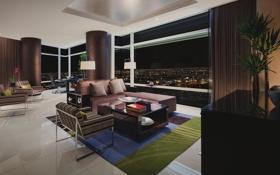 Картинка дизайн, город, стиль, интерьер, жилая комната