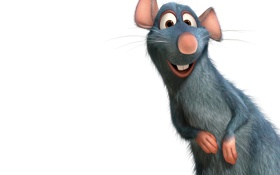 Обои улыбка, белый фон, зверек, крыса, Рататуй, Ratatouille