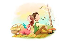 Обои пикник, позитив, лужайка, девушка, рисунок, хлеб, мечтательность