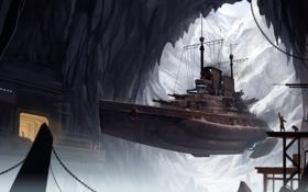 Картинка горы, фантастика, скалы, корабль, арт, пещера, okita