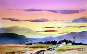 Обои пейзаж, картина, акварель
