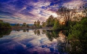 Картинка вода, солнце, облака, деревья, отражение, река, вечер
