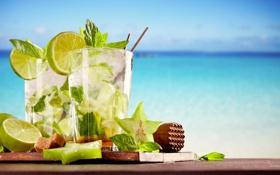 Обои море, пляж, лайм, напиток, beach, sea, drink