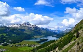 Обои долина, поселок, дома, горы, небо, озеро