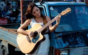 Обои девушка, музыка, гитара