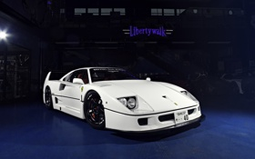 Обои гараж, white, supercar, tuning, ferrari f40, автообои, liberty walk