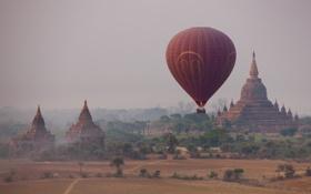 Обои храм, бирма, сергей доля, воздушный шар