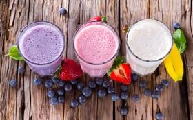 Картинка ягоды, черника, клубника, фрукты, банан, молочный коктейль
