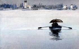 Обои акварель, река, лодка, картина